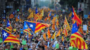 People in a protest march in Barcelona show their discord towards being part of Spain.