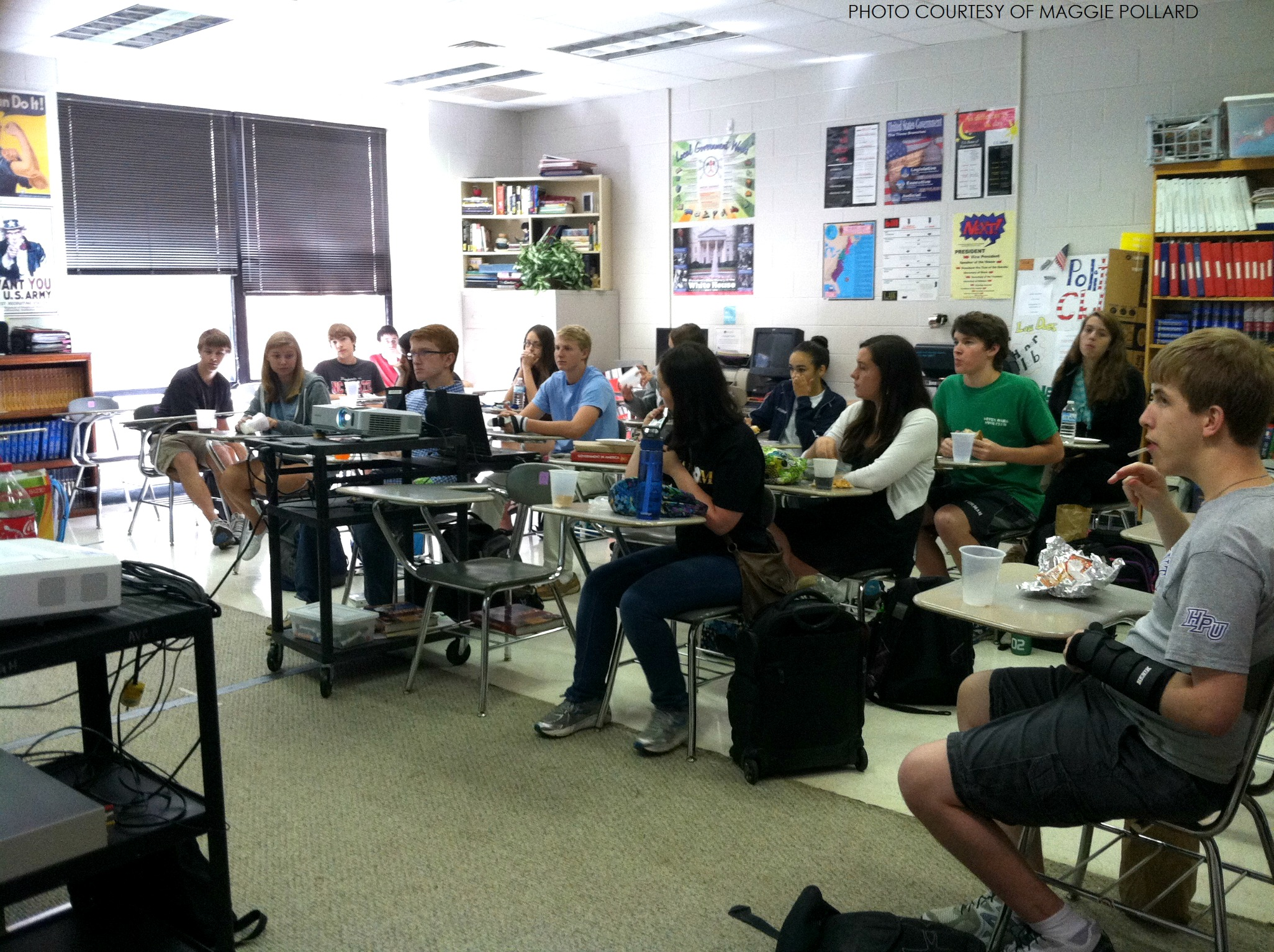 Students debate current events in Political Club. Political Club meets on  the second and fourth Thursday of every month.