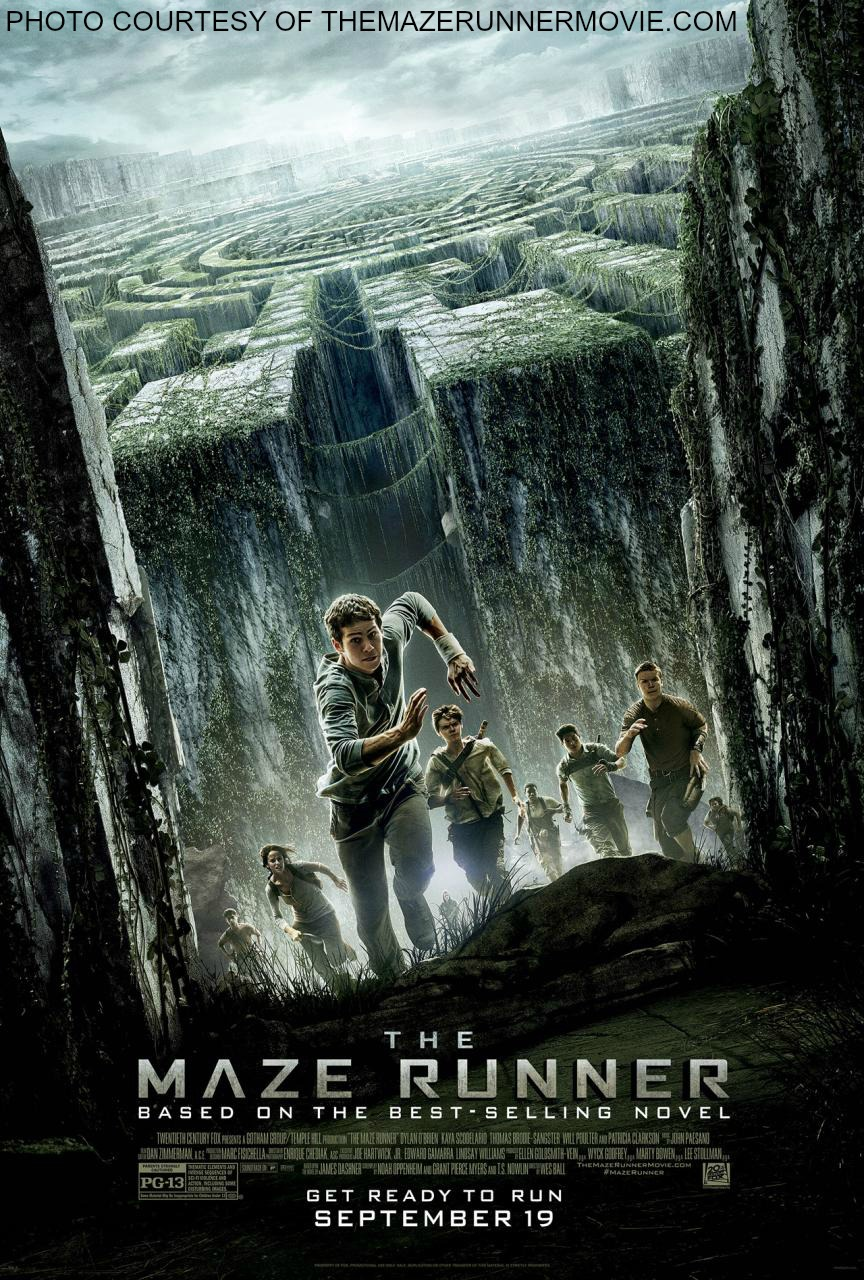This poster depicts the main characters of The Maze Runner racing the maze.