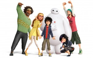 Wasabi, Honey Lemon, Hiro, GoGo and Fred pose with Baymax. Baymax was originally created by Tadashi Hamada, Hiro's older brother, as a healthcare companion.