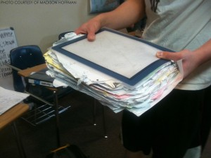 Having a cluttered binder like shown above is one of the main reasons why students are disorganized with their school work.