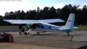A Helio Courier, a plane that can land on the shortest, roughest air strips across the globe, is shown preparing to go up for another flight. JAARS Day offers flights for people to simulate what its like.