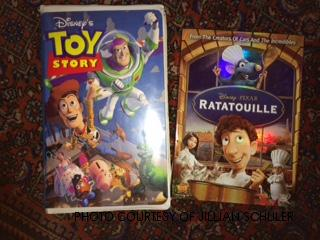 The juxtaposition of the Toy Story VHS and the Ratatouille DVD shows how long Disney Pixar has lasted. Despite the time difference, the two films have a commonality; using creatures as the main characters of films.