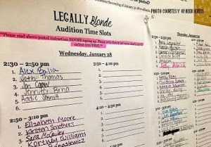 Students signed up for an audition time on a list outside the theatre room. This is one of many steps taken to prepare for Legally Blonde's premiere on April 16.