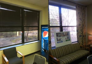 The window area of the teachers lounge before and after it was renovated. Contrast the abysmal design of the left image with the more comforting feeling of the right. (Images courtesy of Caroline Rohs and William Sease, from left to right)
