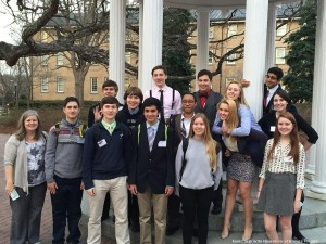 Leesville's Model U.N. team at the Model U.N. Chapel Hill conference. Leesville has participated in four conferences during the 2014-2015 school year.