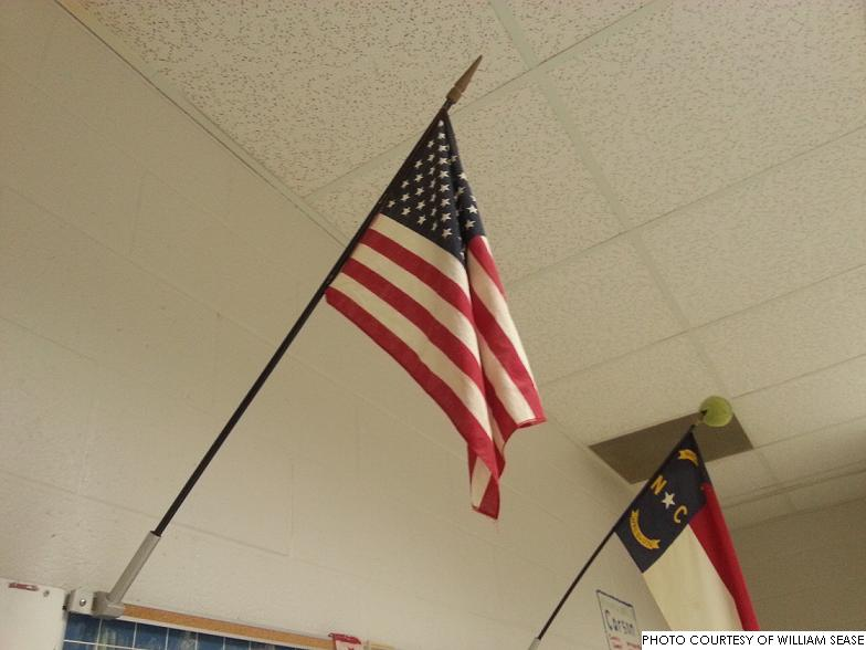 An American flag in a Leesville classroom. America ranked #36 among 65 nations in the 2012 PISA tests.