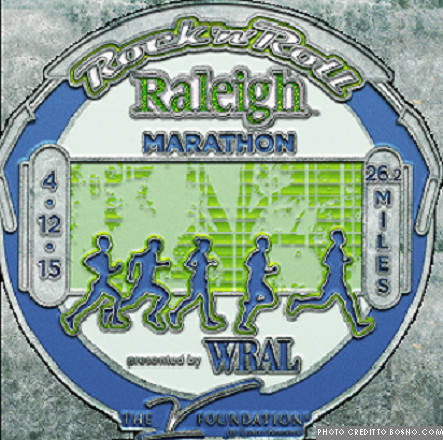 A medal to those who finished April 12th's race. Profits from the race went to a variety of charities.