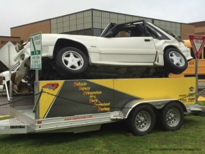 The VIP for a VIP team visited the Leesville senior class on Thursday April 9 to promote safe driving. The assembly was broken down into two parts: one in the auditorium which mostly consisted of informational videos and stories and one in the student parking lot which was a simulation of a car crash.