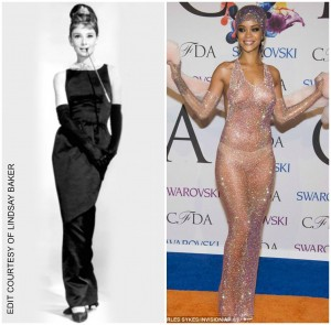 Audrey Hepburn (left) was iconic for her fashion in the 1960's; Rihanna (right) is a fashion icon the 2000's. The difference between risky fashion trends then and now is mindblowing.