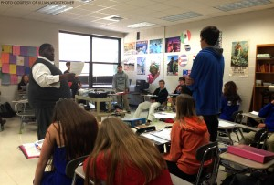 Señor Laws teaches his fourth period, Spanish II.