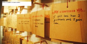 Candy Chang created an art project where participants could anonymously confess by writing on a plaque. The plaques would be placed on the walls of the exhibition for people to observe.
