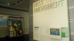 A major focus of the Newseum is the First Amendment. According to the exhibit pictured above, while over 20% of Americans can name all five Simpsons characters, less than 3% can name the freedoms guaranteed by the First Amendment. (Photo courtesy of Michael Beauregard.)