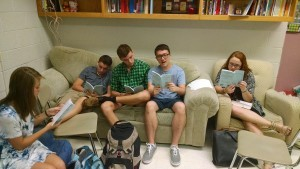 Students in Ms. Tarson's Mainstage class read through the male version of The Odd Couple. Auditions for both versions of The Odd Couple will take place on September 1-2 from 2:30 p.m.-6 p.m. in the auditorium. (Photo courtesy of Will Hollerung)