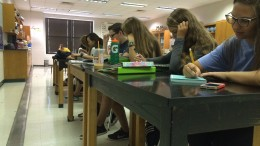 "Students in AP Environmental Science, pictured above, always work to get their assignments done. With the new ten-point grading scale, making an ""A"" in difficult AP classes like this will be somewhat easier. (Photo courtesy of Cayley Kennedy.)"
