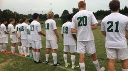 LRHS Varsity Men's Soccer lines up for starting line-up and the playing of the national anthem. They battled against Sanderson High School at 6:30 on Monday, September 21.