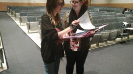 Caroline Evans talks to the assistant director during rehearsal. Giving feedback is one of her many tasks as being a stage manager. (Photo Courtesy of Kayla Fortson)