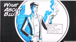 An ad for Blu electronic cigarettes. Though this ad starts off by professing that Blu electronic cigarettes are not for sale to minors, the use of a cartoon for marketing causes pause.