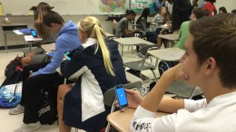 Leesville students check Twitter in class. They catch up on what's happening in the Leesville community.