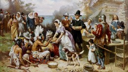 This twentieth-century painting envisions what the First Thanksgiving in Plymouth was like. According to USHistory.org the main course of the meal was venison, not turkey. (Image courtesy of the Library of Congress)