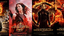 The Hunger Games Trilogy has been adapted into four films. From left to right- The Hunger Games, The Hunger Games: Catching Fire, The Hunger Games: Mockingjay - Part 1, and The Hunger Games: Mockingjay - Part 2.