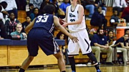 Kelly Funderburk, senior and team captain, dribbles the ball in the frontcourt. The Lady Pride have increased in wins and made substantial improvement. Photo Courtesy: Kelly Funderburk.