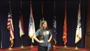 Maria Codispoti, senior, stands in the venue in which she committed to National Guard. Codispoti will begin basic training June 1.