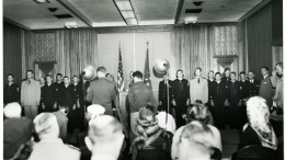 The crew of the CG 36500 (The Finest Hours' main characters) receiving awards at a ceremony in the Treasury Building in Washington D.C.