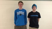 Will Sandy, sophomore, and Bryson Smith, senior, avid Panthers fans, are shown wearing their Panthers gear. The Panthers will play in the Super Bowl on February 7.  Photo Credit: Baldwin Bell
