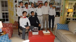 A group of senior boys together for a picture at Winterfest. The boys are just a couple minutes away from leaving to go to dinner downtown with their dates. (Top row: Nolan Brunick, Blair Simpson, Owen Langlois, Nate Calloway, Clay Vick, John Stout. Bottom Row: Eric Fitz, Gabe Braga.) Photo courtesy of Cayley Kennedy.