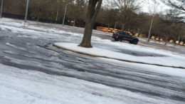 The Leesville student parking lot was covered with ice and snow the day students came to school. Photo courtesy of Daniel Bomgardner.