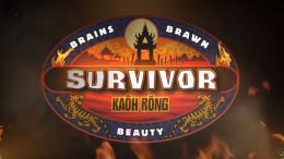 The Survivor season 32 logo. Season 32 is the second time Survivor has done a Brains vs Brawns vs Beauty season.