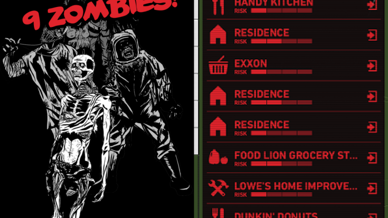 The screenshot on the left shows the typical zombie attack in Map of the Dead, the number of zombies ranging from anywhere to one zombie to over forty. The screenshot on the right shows just a few of many of the locations that can be looted around Leesville Road High.