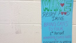 The Key Club has hung posters around the school encouraging students to donate to the Food Drive. The Food Drive is supported by Wake Relief, a volunteer organization serving the community since 1975.