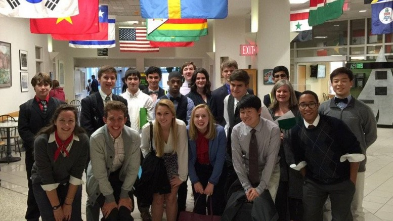 The LRHS Model UN team represents the United States at a competition at Appalachian State University. Photo courtesy of John Balla.