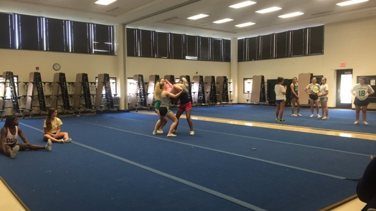 The LRHS Stunt team was started this season as part of a county initiative to expand varsity sports. Pictured here are stunt members working on their routines.