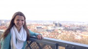 Dolegowski poses for a picture in the city of Prague. She traveled to the Czech Republic for a ten day trip with the Campus Crusade for Christ.