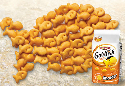 The snack that smiles back with little nutritional value for Gold fish crackers