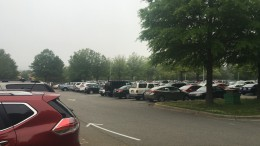 The Leesville student parking lot holds tons of cars. Every day the herd of students manages to cram their cars into the tiny spaces. (Photo courtesy of Cayley Kennedy)