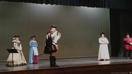 The actors on stage. In the foreground, in a brown outfit, is the man portraying Sir Walter Raleigh, who is also a Leesville dad. (Photo Courtesy of William Sease)
