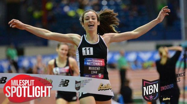 Mareno stretches out her arms at the finish line of last years New Balance Nationals as she takes first place. Mareno will be looking for the same result if not better at this years event in Greensboro.