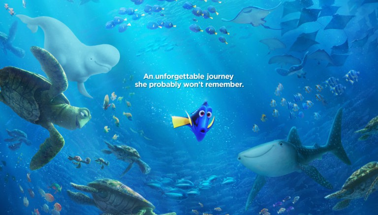 A poster advertising the summer 2016 film, Finding Dory. A sequel to Finding Nemo, a childhood classic, has been coveted by fans for over a decade.