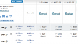 One of the major advantages of train travel is its low cost. The picture above shows the rates for a train ticket (top) and an American Airlines ticket (bottom) for a trip from Raleigh to New York City.