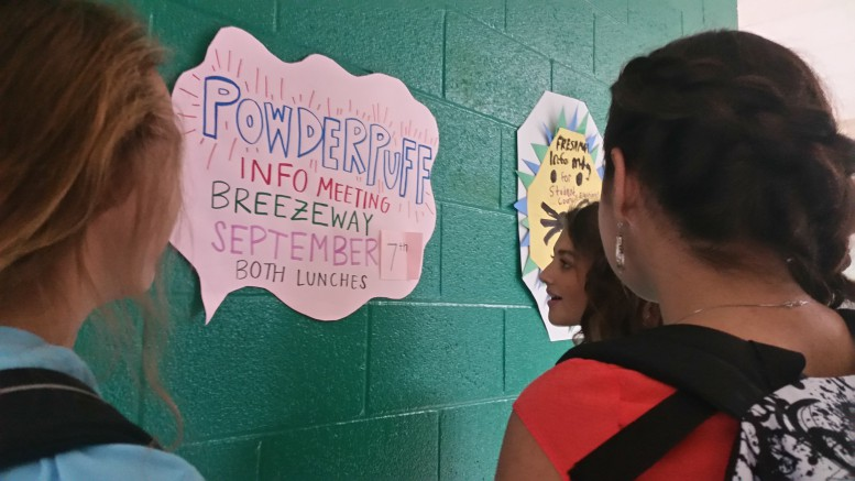 Leesville girls show interest in attending the Powder Puff interest meeting. The meeting was held to discuss the details of this year's powder puff game.