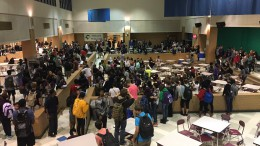 Students rallied in the cafeteria before the first bell, Thursday morning.