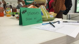 New students to Leesville signed in.. Liaisons welcome new students and encourage them to ask them about their interests.