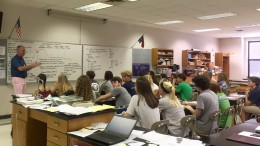 Dr. Chip Stone leads a discussion with his AP Environmental Science class. Teachers like Stone make Leesville great