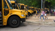Students on their way to their designated buses. The increase in students at Leesville has caused bus delays.