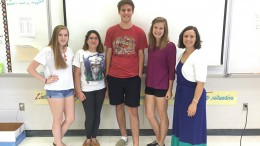 The French National Honor Society held their first meeting of the 2016-17 school year on September 6 in Madame West's classroom during A lunch in room 209. The Current members in the picture are Laura Tripp 119, Nicole Tejada 243, Jordan Brady 232, Erica Lisowe 239 and Madame West.
