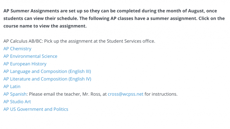 The Leesville website features the list of  AP classes that require summer assignments. Both AP English 3, and AP English 4 are required to complete a summer assignment even though they have not yet learned how to write at the college level.